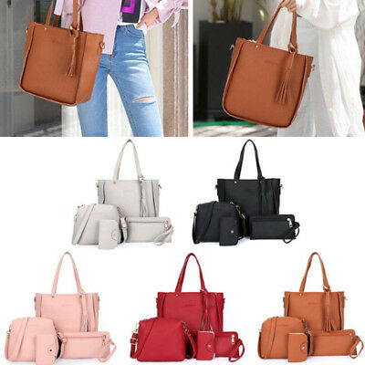 4 Pcs Women Lady PU Leather Handbag Shoulder Bags Tote Purse Messenger Satchel