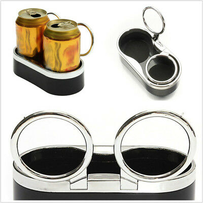 1x Black Dual-Hole Adjustable Folding Drink Cup Holder For Car Truck Boat Marine