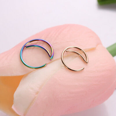 Septum Piercing Small Nostril Hoop Moon Nose Ring Cartilage Tragus Earrings