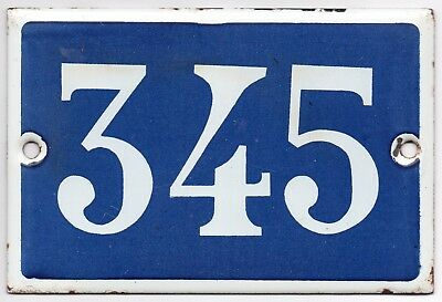 Old blue French house number 345 door gate plate plaque enamel steel metal sign