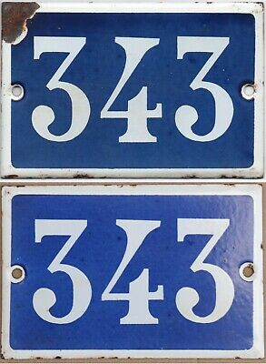 Old blue French house number 343 door gate wall fence street sign plate plaque