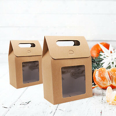 12pcs Wedding Gift Bags  Kraft Paper Candy Bag with Handle Cookies Boxs Party D