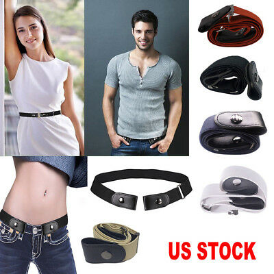 US Women Buckle-free Elastic Invisible Waist Belt for Jeans No Bulge Hassle P