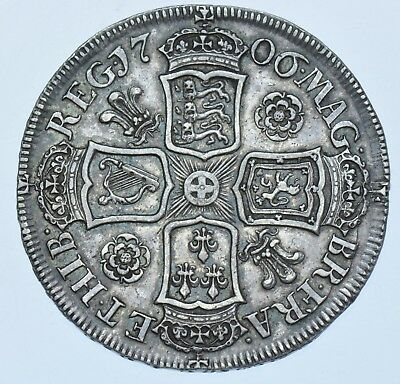 Scarce 1706 Halfcrown, Roses & Plumes, British Silver Coin From Anne Gvf+