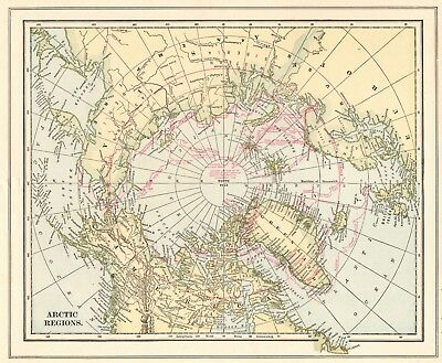 1908 Antique Map of ARCTIC & ANTARCTIC Regions Vintage Collectible Map 6034