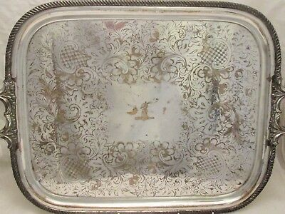 Very Large Crested Old Sheffield Plated Tray with Handles c1820