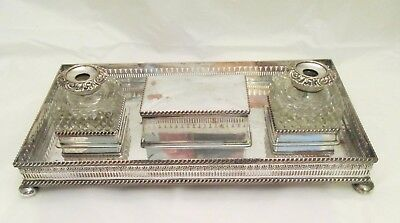 Very Large Impressive Old Sheffield Plate Table Ink Stand - c1830 - Desk