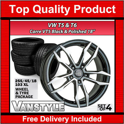 "Vw T6 Transporter 15> Carre Vt5 18"" Load Rated Alloy Wheel & Tyre Package Set"