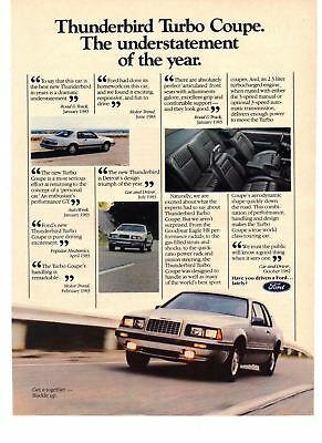 1984 Car vintage print ad Ford Thunderbird Turbo Coupe Understatement of Year