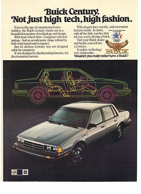 1983 Vintage Car Print Ad Buick Century Not Just HighTech / High Fashion