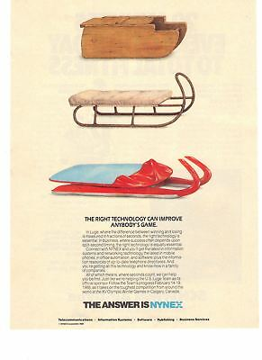 1988 Nynex Services Right Technology Luge Old & New Sleds Vintage Print Ad