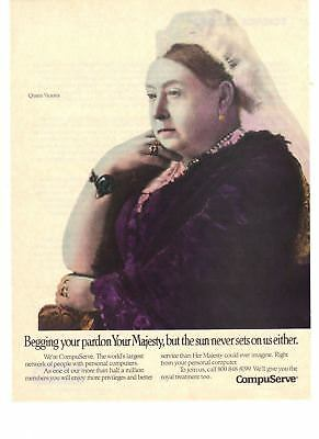 1989 Compuserve Better Service Than Queen Victoria Could Imagine Print Ad