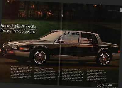 1985 2 Page Vintage Car Print Ad 86 Cadillac Seville The New Essence of Elegance