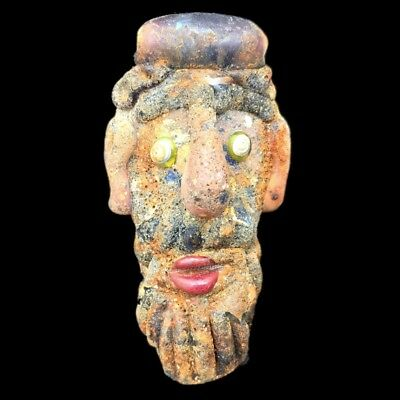 Rare Huge Phoenician Face Pendant 300Bc Super Quality (1)