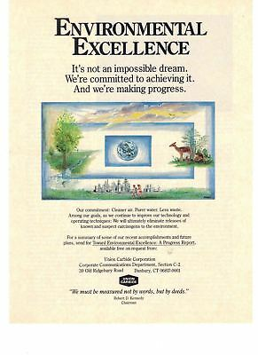 1989 Union Carbide environmental Excellence Clean Air and Water Vintage Print Ad