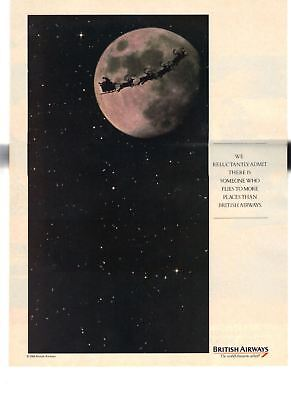 1989 Vintage Print Ad British Airways Only Santa Claus Flies to More Places Moon