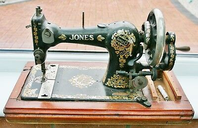 Vintage JONES FAMILY C.S Lock Stitch Sewing Machine for Restoration or Spares