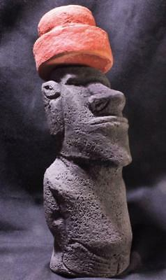 MYSTIC MOAI Easter Island statue with Pukao Hat & authentic back carvings