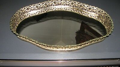 VINTAGE 1950's MIRRORED VANITY FILIGREE PERFUME TRAY *WAS MOTHER-IN-LAWS*