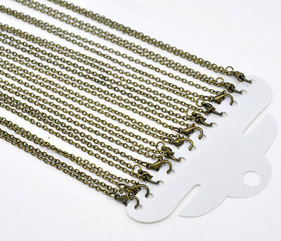 "Antique Bronze Chain Necklaces 18"" sold per pack of 12 pieces"