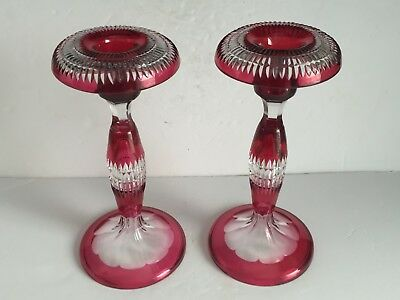 Pair Antique FRENCH Cranberry to Clear Overlay CUT GLASS Crystal Candlesticks