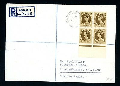 GB  1960   1s Wilding Registered Cover to Switzerland    (D1206)