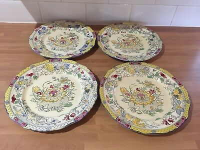 very rare masons ironstone water lily pattern app 10ins dinner plates x four R02