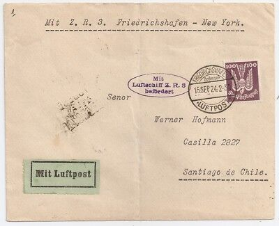1924 Germany To Chile Zeppelin Cover Via Usa, Very High Value, L@@k