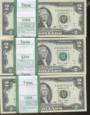 10 NEW $2 BILLS UNC AND SEQUENTIAL TWO DOLLAR BILL 10 x 2. BEP PACK TEN LOT 2009