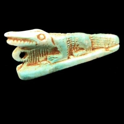 Beautiful Ancient Egyptian Crocodile Amulet 300 Bc (4)