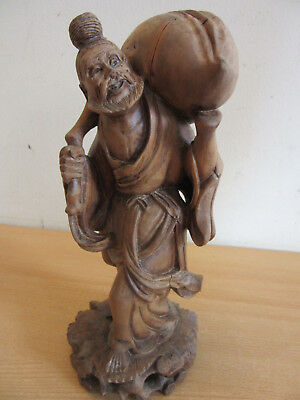 Antique Chinese highly carved wood statue Old Man with Sack 10.75""