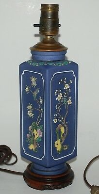 Antique Japanese Hand Painted Porcelain Table Lamp. Birds.