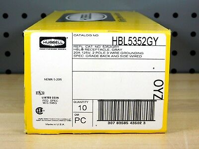 (10) BRAND NEW - CASE OF 10xPCS Hubbell HBL5352GY Receptacle 20A 125V