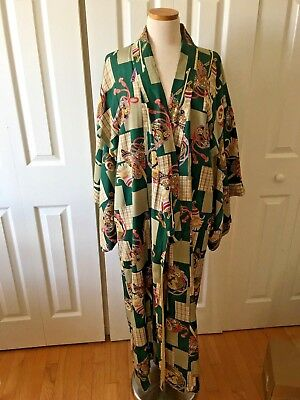 Authentic vintage 1950s handmade kimono mod green satin fabric yellow lining