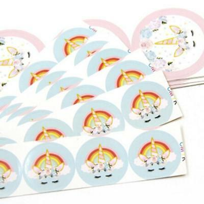 Lovely Unicorn Party Supplies Candy Bag Sticker Happy Gift Box Seal Stickers W