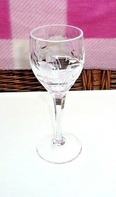 Stuart Cascade Fuchsia Sherry Glass Faceted Stem Signed Height 5 7/8""