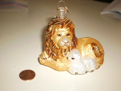 Vtg OWC Lion & Lamb Old World Christmas Blown Glass Animal Ornament~Biblical