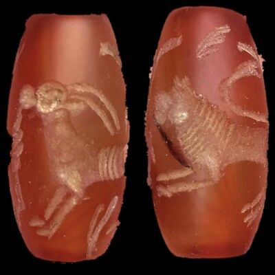 Very Rare Ancient Near Eastern Carnelian Cylinder Seal 300 Bc (3)