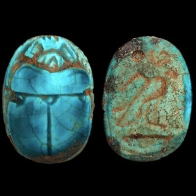 Ancient Egyptian Glazed Scarab Bead Seal With Hieroglyphics 664 - 332 Bc (4)