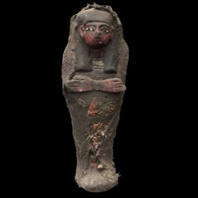 Egyptian Hieroglyphic Shabti, Late Period 664 - 332 Bc (1) Large 11.5 Cm Tall !!