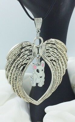 Bull Terrier  Dog  Lovers Angel Wings Memory Leather Necklace