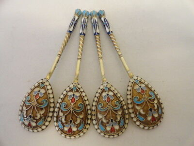 Set of 4 antique Russian silver 84 cloisonne enamel spoons by Vasili Agafanov