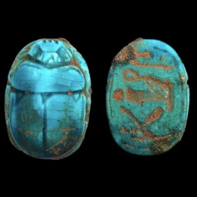 Ancient Egyptian Glazed Scarab Bead Seal With Hieroglyphics 664 - 332 Bc (5)