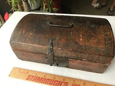 18th Century Tooled Wood Leather Document Box Dome Top Decorated AAFA AS IS