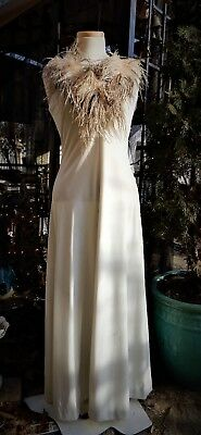 Glamouous 1970's White Fitted Full Length Polyester Dress Ostrich Feathers S/M