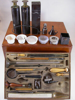 Miner's Blowpipe Set in Mahogany Case by August Lingke