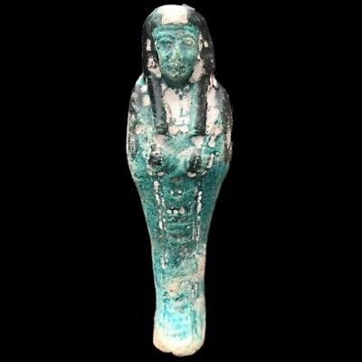 Egyptian Hieroglyphic Shabti, Late Period 664 - 332 Bc (2) Large 17 Cm Tall !!