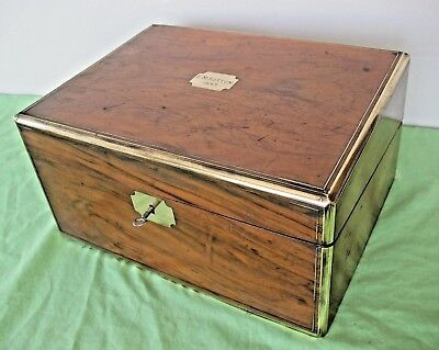 Old antique Victorian wooden brass bound writing slope box secret drawers Key