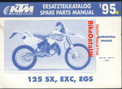 Genuine KTM 125 SX EXC EGS (1995) Spare Parts Manual List Book CHASSIS VMX BJ57