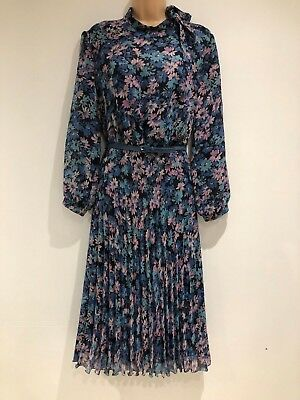 Vintage 80's Blue & Pink Floral Print Tie Neck Belted Pleated Day Dress Size 16